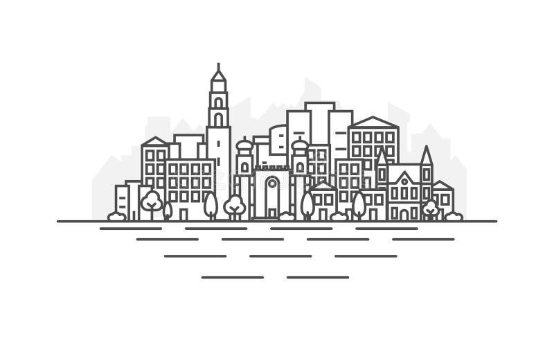 Izrael, Jaffa w Tel Aviv miasta architektury linii linia horyzontu ilustracji Liniowy wektorowy pejza? miejski z s?awnymi punktam ilustracja wektor