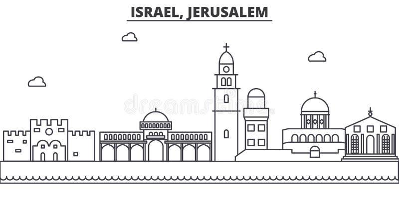Izrael, Jerozolimska architektury linii linii horyzontu ilustracja Liniowy wektorowy pejzaż miejski z sławnymi punktami zwrotnymi royalty ilustracja