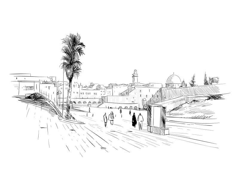 Izrael jervis Ściana łzy Ręka rysujący nakreślenie również zwrócić corel ilustracji wektora ilustracja wektor