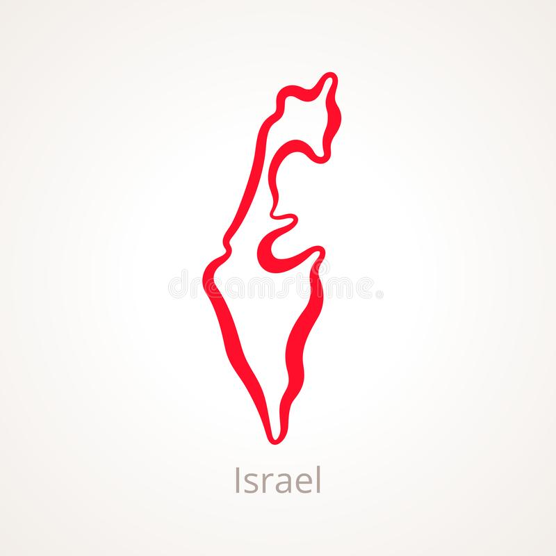 Izrael - kontur mapa ilustracji