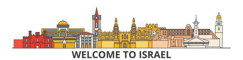 Izrael konturu linia horyzontu, izraelskiego mieszkania cienkie kreskowe ikony, punkty zwrotni, ilustracje Izrael pejzaż miejski, royalty ilustracja