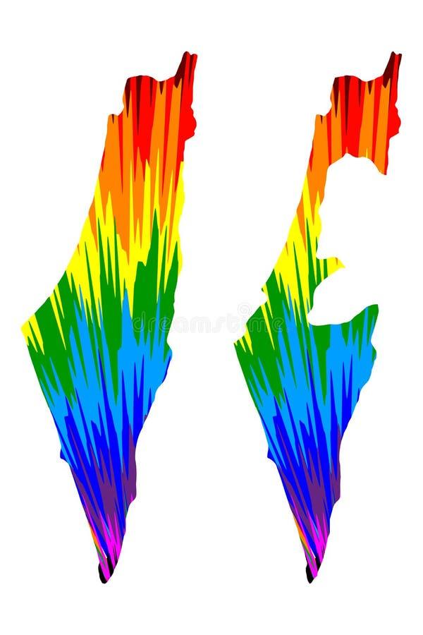 Izrael - mapa jest projektującym tęczy abstrakcjonistycznym kolorowym wzorem, państwo izraelskie mapa robić koloru wybuch ilustracja wektor