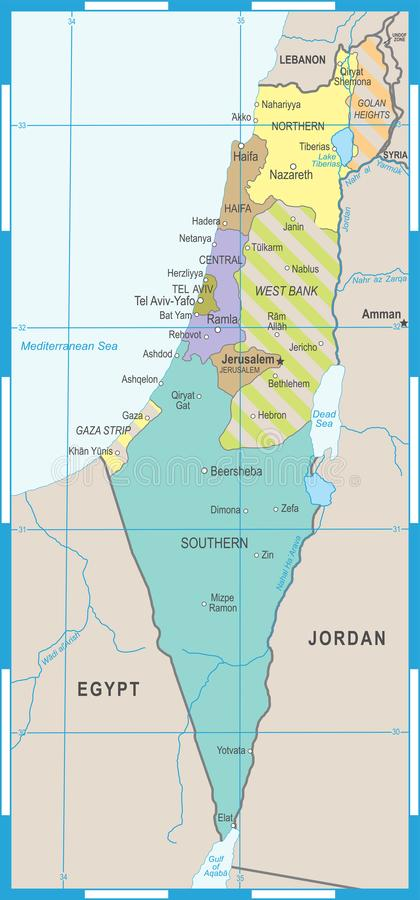 Izrael mapa - Wektorowa ilustracja ilustracji