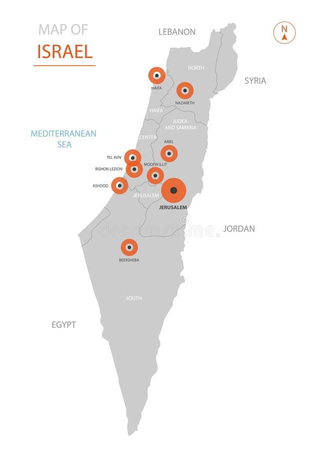 Izrael mapa z administracyjnymi podziałami ilustracji