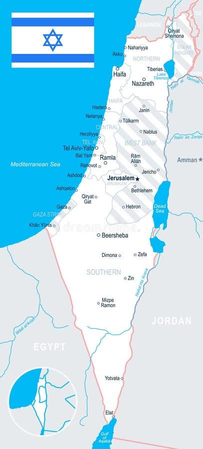 Izrael - mapy i flaga ilustracja royalty ilustracja