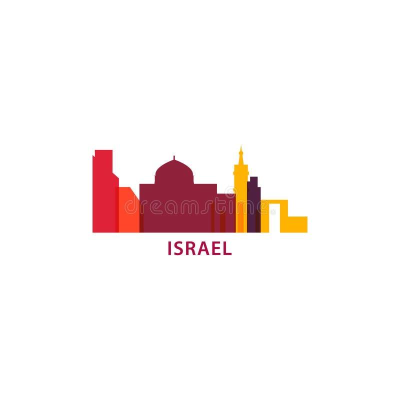 Izrael miasta linii horyzontu kształta loga ikony ilustracja royalty ilustracja