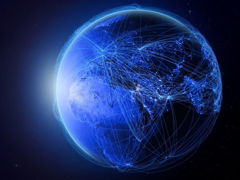 Izrael na błękit ziemi z siecią ilustracja wektor