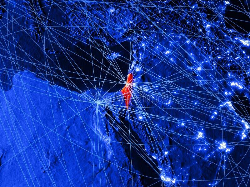 Izrael na błękitnej cyfrowej mapie z sieciami Pojęcie międzynarodowa podróż, komunikacja i technologia, ilustracja 3 d elementy royalty ilustracja