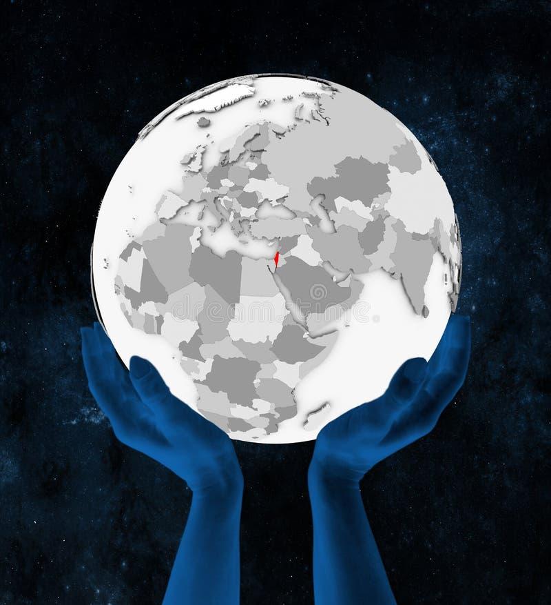 Izrael na białej kuli ziemskiej w rękach ilustracji