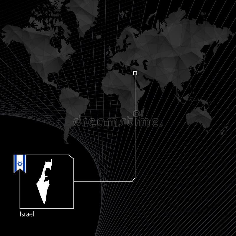 Izrael na czarnej Światowej mapie israel chorągwiana mapa ilustracji
