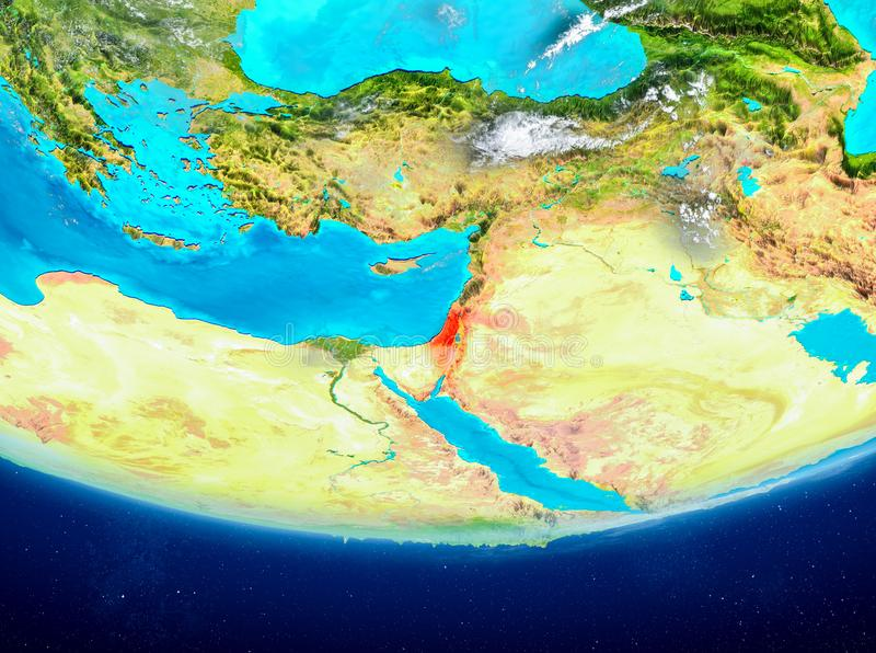 Izrael na kuli ziemskiej od przestrzeni ilustracja wektor