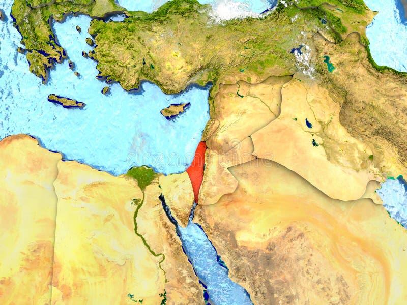 Izrael na mapie z chmurami royalty ilustracja