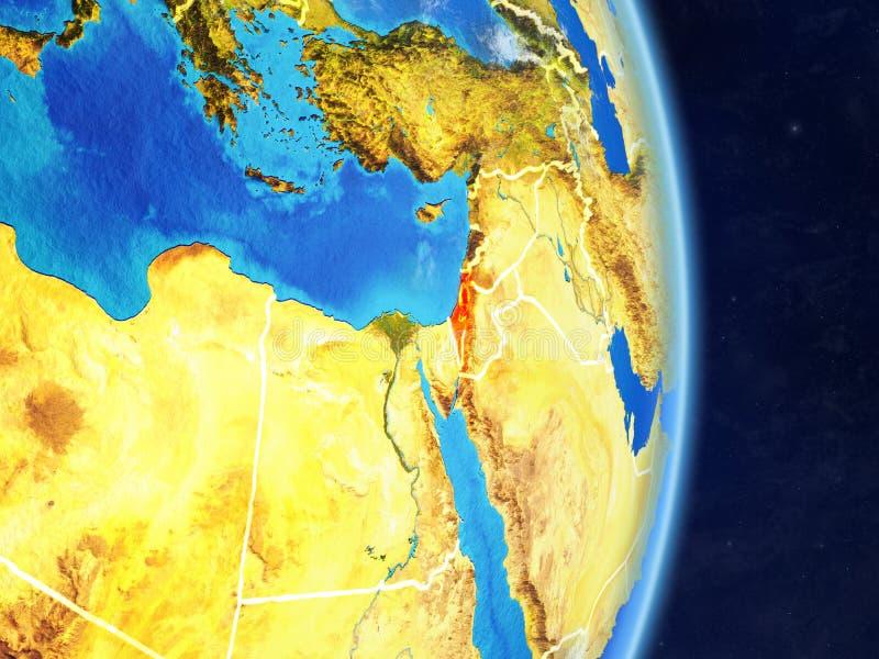 Izrael na planety planety ziemi z krajem graniczy Niezwykle szczegółowa planety powierzchnia, chmury i ilustracja 3 d Elementy ilustracji
