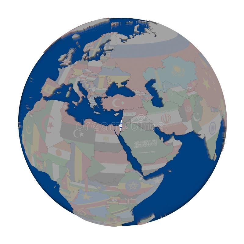Izrael na politycznej kuli ziemskiej ilustracja wektor