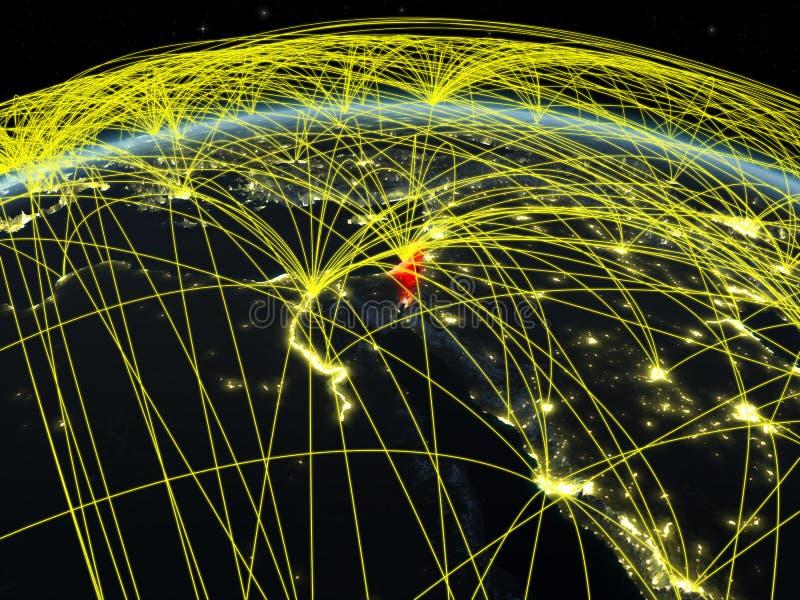 Izrael na zmrok ziemi z sieciami ilustracja wektor