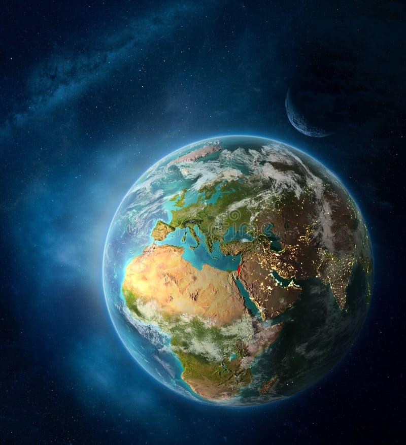 Izrael od przestrzeni na planety ziemi ilustracja wektor