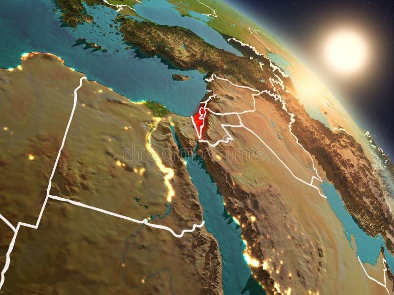 Izrael od przestrzeni podczas wschodu słońca ilustracja wektor