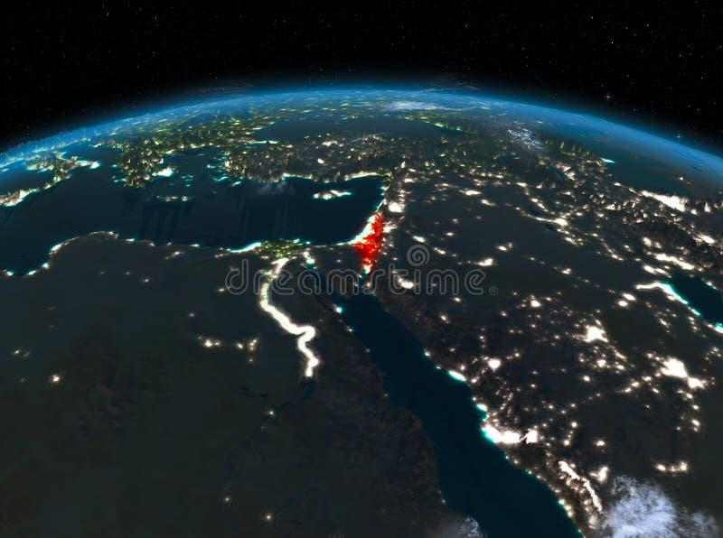 Izrael od przestrzeni przy nocą ilustracji
