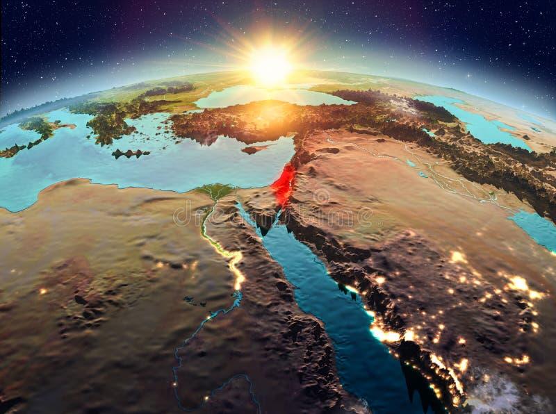 Izrael od przestrzeni w wschodzie słońca ilustracji