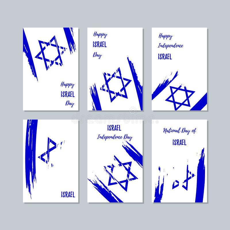 Izrael Patriotyczne karty dla święta państwowego ilustracji