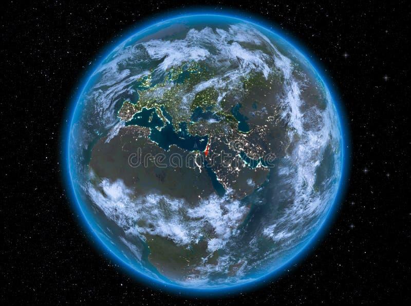 Izrael przy nocą na ziemi ilustracji
