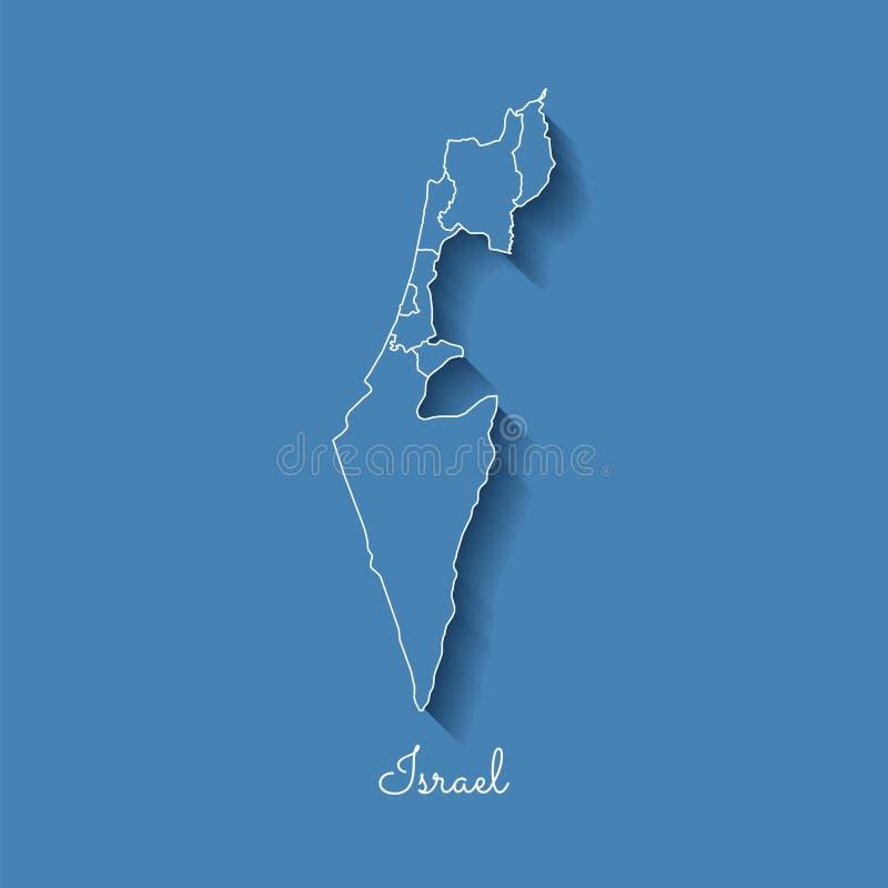 Izrael regionu mapa: błękit z białym konturem i royalty ilustracja