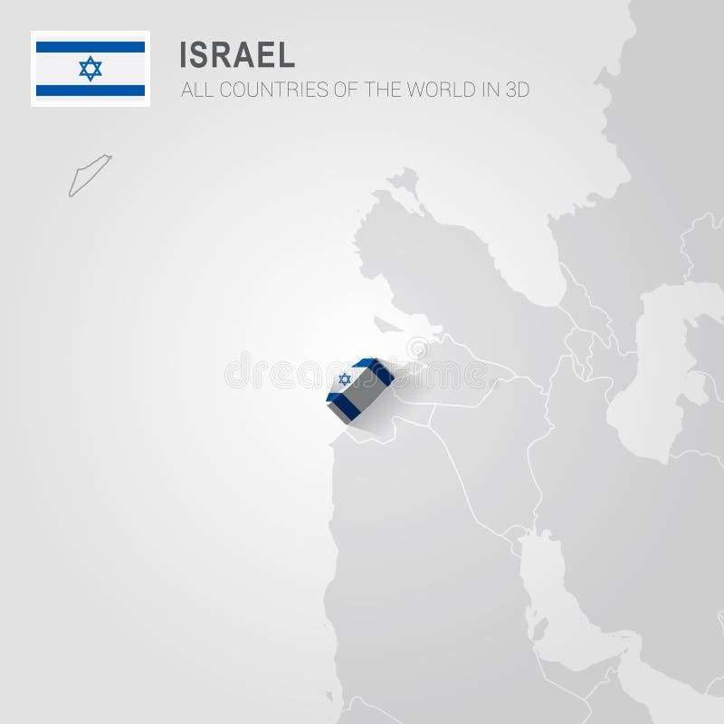 Izrael rysujący na szarości mapie ilustracji