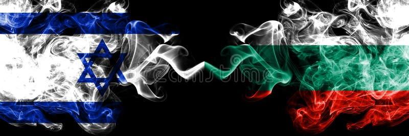 Izrael vs Bułgaria, Bułgarskie dymiące tajemnicze flagi umieszczająca strona strona - obok - Gęsta barwiona silky dym flaga Izrae ilustracja wektor