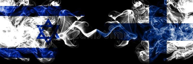 Izrael vs Finlandia, fińskie dymiące tajemnicze flagi umieszczająca strona strona - obok - Gęsta barwiona silky dym flaga Izrael  ilustracja wektor