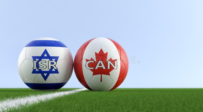 Izrael vs Kanada mecz piłkarski - piłek nożnych piłki w Izrael i Kanada krajowych kolorach na boisku do piłki nożnej royalty ilustracja