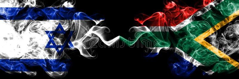 Izrael vs Południowa Afryka, Afrykańskie dymiące tajemnicze flagi umieszczająca strona strona - obok - Gęsta barwiona silky dym f royalty ilustracja