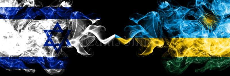 Izrael vs Rwanda, Rwandyjskie dymiące tajemnicze flagi umieszczająca strona strona - obok - Gęsta barwiona silky dym flaga Izrael ilustracji