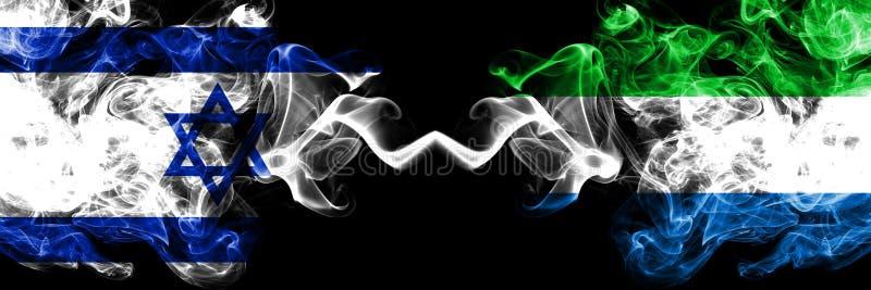 Izrael vs Sierra Leone dymiące tajemnicze flagi umieszczająca strona strona - obok - Gęsta barwiona silky dym flaga Izrael i Sier ilustracja wektor