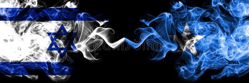 Izrael vs Somalia, Somalian dymiące tajemnicze flagi umieszczająca strona strona - obok - Gęsta barwiona silky dym flaga Izrael i ilustracja wektor