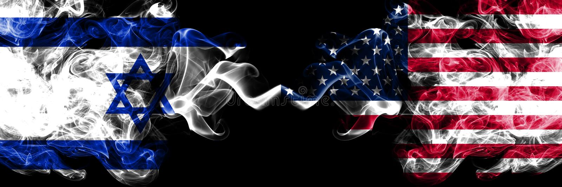 Izrael vs Stany Zjednoczone Ameryka, Amerykańskie dymiące tajemnicze flagi umieszczająca strona strona - obok - G?sta barwiona si ilustracja wektor