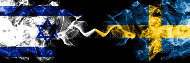 Izrael vs Szwecja, Szwedzkie dymiące tajemnicze flagi umieszczająca strona strona - obok - Gęsta barwiona silky dym flaga Izrael  royalty ilustracja