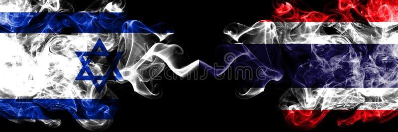 Izrael vs Tajlandia, Tajlandzkie dymiące tajemnicze flagi umieszczająca strona strona - obok - Gęsta barwiona silky dym flaga Izr royalty ilustracja