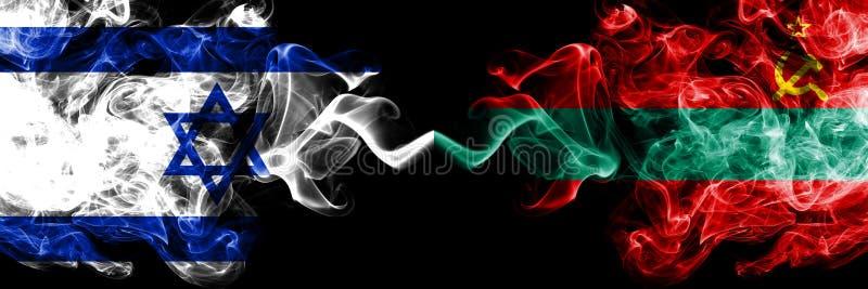 Izrael vs Transnistria dymiące tajemnicze flagi umieszczająca strona strona - obok - Gęsta barwiona silky dym flaga Izrael i Tran royalty ilustracja