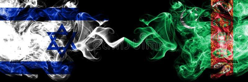 Izrael vs Turkmenistan, Turkmenistans dymiące tajemnicze flagi umieszczająca strona strona - obok - G?sta barwiona silky dym flag ilustracji