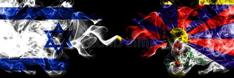 Izrael vs Tybet, Tybetańskie dymiące tajemnicze flagi umieszczająca strona strona - obok - Gęsta barwiona silky dym flaga Izrael  ilustracja wektor
