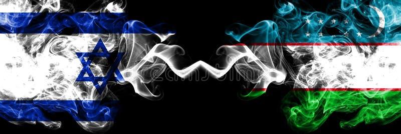Izrael vs Uzbekistan, uzbek dymiące tajemnicze flagi umieszczająca strona strona - obok - Gęsta barwiona silky dym flaga Izrael i ilustracja wektor