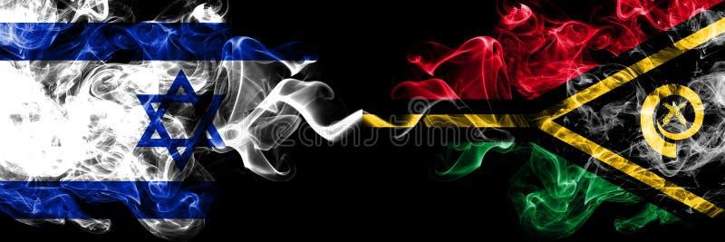 Izrael vs Vanuatu dymiące tajemnicze flagi umieszczająca strona strona - obok - Gęsta barwiona silky dym flaga Izrael i Vanuatu ilustracji