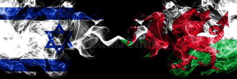 Izrael vs Walia, Walijskie dymiące tajemnicze flagi umieszczająca strona strona - obok - Gęsta barwiona silky dym flaga Izrael i  ilustracji