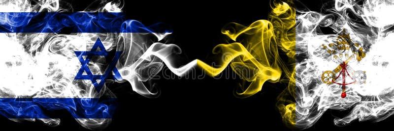 Izrael vs watykan dymiące tajemnicze flagi umieszczająca strona strona - obok - Gęsta barwiona silky dym flaga Izrael i watykan ilustracji