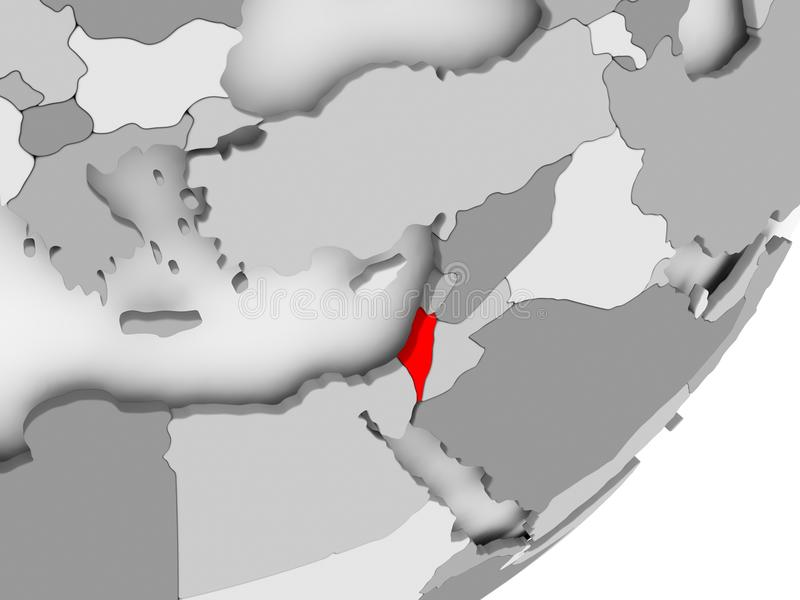 Izrael w czerwieni na popielatej mapie ilustracja wektor
