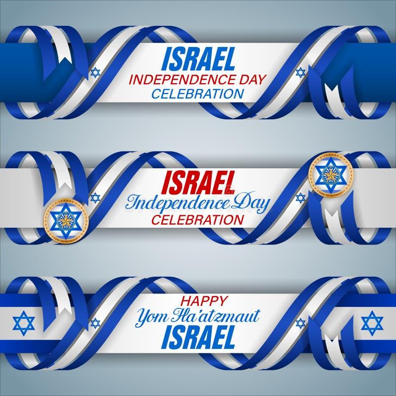 Izrael, ?wi?towanie dzie? niepodleg?o?ci, sie? sztandary royalty ilustracja