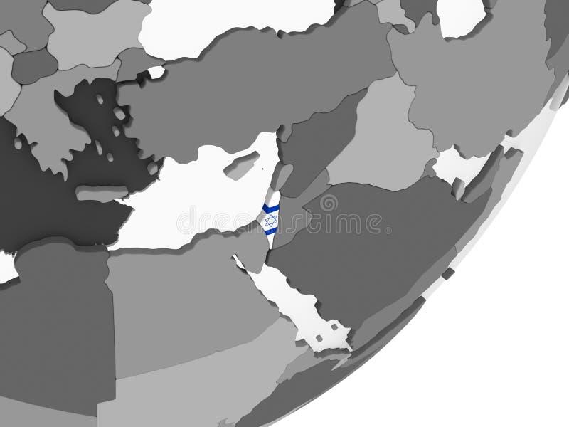 Izrael z flaga na kuli ziemskiej ilustracji