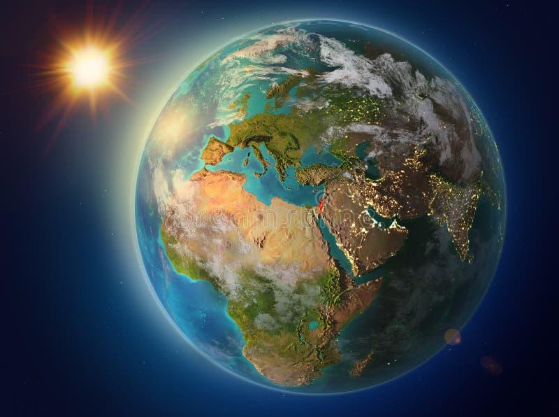 Izrael z zmierzchem na ziemi ilustracji