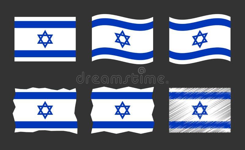 Izrael zaznacza wektorowego ilustracyjnego set, oficjalni kolory państwo izraelskie flaga royalty ilustracja