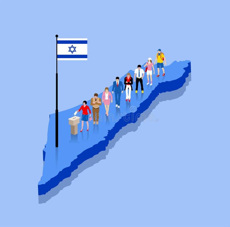 Izraeliccy mieszkanowie głosują dla wybory nad Izrael mapą royalty ilustracja